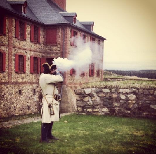 Musket firing, Louisbourg